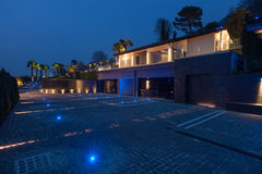 Exterior view of a modern luxury villa, nocturnal scene. Exterior view of a modern luxury villa, nobody inside stock photo