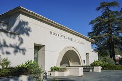 Exterior view of the Monrovia Library. At Los Angeles County, California royalty free stock photos