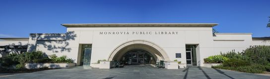 Exterior view of the Monrovia Library. At Los Angeles County, California royalty free stock photography