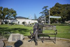 Exterior view of the Monrovia Library and Mark Twain statue. Monrovia, MAR 19: Exterior view of the Monrovia Library and Mark Twain statue on MAR 19, 2018 at Los royalty free stock photos