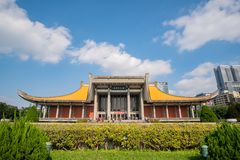 Exterior view of the National Dr. Sun Yat-Sen Memorial Hall. Taipei, DEC 17: Exterior view of the National Dr. Sun Yat-Sen Memorial Hall on DEC 17, 2018 at Xinyi stock photography