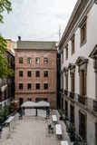 Exterior view of old palace and modern architecture extension Royalty Free Stock Photo