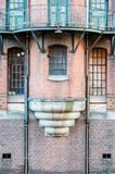 Exterior view of an old storage building in Speicherstadt stock photos