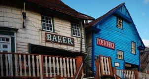 Exterior View of Old Wooden Establishments Stock Photos