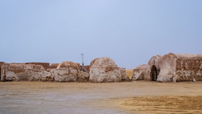 Exterior view of the original film set used in Star Wars as Mos. The original film set used in Star Wars as Mos Eisly space port.  Still preserved in Tunisia Stock Photo