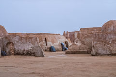 Exterior view of the original film set used in Star Wars as Mos. The original film set used in Star Wars as Mos Eisly space port.  Still preserved in Tunisia Stock Image