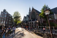 Exterior view of the Oude Kerk Church in the city center of Amsterdam stock image