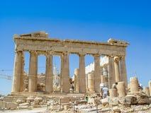 Exterior view of the Parthenon temple at the Acropolis Stock Photos