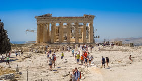 Exterior view of the Parthenon temple at the Acropolis Royalty Free Stock Images