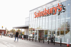 Exterior View Of Sainsbury's Supermarket Entrance Stock Photos