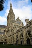 Salisbury cathedral in Wiltshire. Exterior view of Salisbury cathedral in Wiltshire, UK. This imposing building holds one of the 4 remaining copies of the Magna royalty free stock image