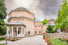 View of shahzada(prince) Ahmed tomb, mausoleum in Bursa, Turkey. Exterior of view of shahzada(prince) Ahmed tomb, mausoleum at Muradiye complex or Complex of stock photos
