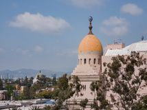 Exterior view of Shrine Auditorium and Expo Hall. Los Angeles, APR 2: Exterior view of Shrine Auditorium and Expo Hall on APR 2, 2019 at Los Angeles, California royalty free stock photos