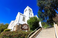Exterior view of the Sonora United Methodist Church. California Royalty Free Stock Images