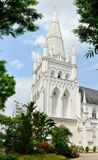 Exterior view of St Andrews Cathedral in Singapore royalty free stock photos