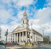 Exterior view of the St Martin-in-the-Fields church. London, APR 15: Exterior view of the St Martin-in-the-Fields church on APR 15, 2018 at London, United stock image