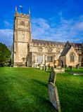 Exterior view of St Michael and All Angels` Church and grave yard in Melksham, Witlshire, UK royalty free stock images