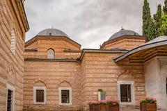 Exterior view of Sultan Murad II tomb,mausoleum in Bursa, Turkey. Exterior view of Sultan Murad II tomb,mausoleum at Muradiye complex or Complex of Sultan Murad stock images