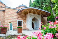 Exterior view of Sultan Murad II tomb,mausoleum in Bursa, Turkey. Exterior view of Sultan Murad II tomb,mausoleum at Muradiye complex or Complex of Sultan Murad stock photo