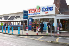 Exterior View Of Tesco Supermarket Entrance Royalty Free Stock Images