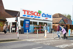 Exterior View Of Tesco Supermarket Entrance Stock Images