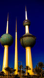 Exterior view to fresh water reservoir aka Kuwait Towers, Kuwait Royalty Free Stock Photos