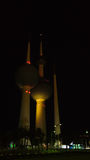 Exterior view to fresh water reservoir aka Kuwait Towers at night, Kuwait Royalty Free Stock Image