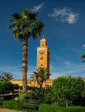 Exterior view to Koutoubia mosque aka Mosque of the Booksellers in Marrakesh, Morocco Royalty Free Stock Photography