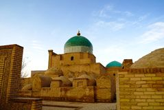 Exterior view to Mausoleum of Pahlavon Mahmoud at Itchan Kala in Khiva, Uzbekistan. Exterior view to Mausoleum of Pahlavon Mahmoud at Itchan Kala, Khiva royalty free stock photography