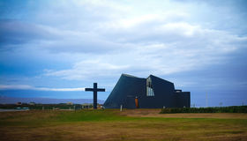 Exterior view to new parish church in Blonduos, Iceland Royalty Free Stock Photos