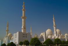 Exterior view to Sheikh Zayed Mosque, Abu-Dhabi, UAE stock images
