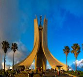 Exterior view to shrine of the martyr, Algiers, Algeria. Exterior view to shrine of the martyr in Algiers, Algeria royalty free stock image