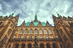 Exterior view of the town hall of Hamburg Stock Image