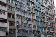 Living in Hong Kong. Exterior view of typical old apartments building in Hong Kong Stock Image