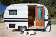 Exterior view of a vintage trailer royalty free stock photography