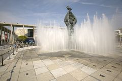 Exterior view of water fountain on plaza in front of Dorothy Chandler Pavilion and Music Center in downtown Los Angeles, Californi Royalty Free Stock Photo