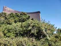 Exterior view of the Wynn Hotel in the city of Las Vegas, Nevada at day. Travel and tourism in the united states of america, style and design in construction and stock image