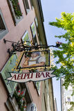 Exterior views of Aelpli Bar sign in the old town part of Zurich Royalty Free Stock Photos