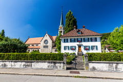 Exterior views of  the St. Sebastian Church of Wettingen Stock Photos