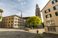 Exterior views of various houses and churches in Zurich Royalty Free Stock Photos