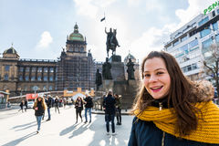Exterior views of Wenceslas Square in Prague Royalty Free Stock Images