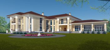 Exterior of a villa in a classic style. 3d Illustration Stock Photo