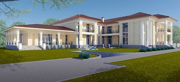 Exterior of a villa in a classic style. 3d Illustration Royalty Free Stock Photography