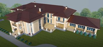 Exterior of a villa in a classic style top view. 3d Illustration Stock Photo