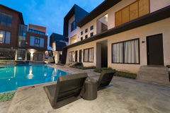 Exterior of Villa. PORT DICKSON, MALAYSIA - FEB 05: Exterior with Swimming Pool of Villa L1638 on Feb 05, 2017 in Port Dickson, Malaysia. Villa L1638 is a modern Stock Photos