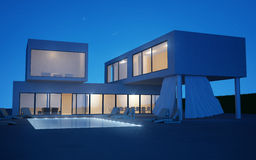 Exterior villa with water pool in night time. Modern villa with water pool night view vector illustration