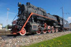 Exterior of the vintage locomotive at the railway station in Vilnius, Lithuania. Royalty Free Stock Photos