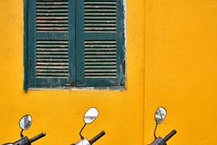 Exterior of vintage vietnamese house with colorful wall stock photo