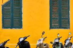 Exterior of vintage vietnamese house with colorful wall stock photography