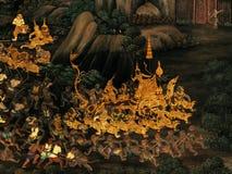 Exterior wall of king palace Bangkok Thailand. Mural paintings on exterior wall of king palace Royalty Free Stock Photo